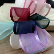 Side Satin Middle Organza Ribbon Roll 25Yards 25mm Wedding Card Make Gift Bows