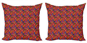 Ambesonne Sugar Skull Cushion Cover Set of 2 for Couch and Bed in 4 Sizes