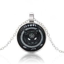 Punk Black Cat Pentagram Cabochon Glass Necklace Silver Chain Pendant Necklace