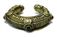 VINTAGE Kuchi Tribal Afghan Hallow Gold Tone Cufff Bracelet Red Blue Glass Stone