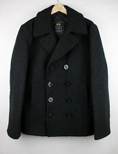NWOT Alpha Industries INC. HEAVY Wool Blend Charcoal Gray Classic Peacoat L