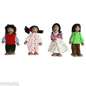 Wooden Dollhouses African Family 4  pretend play,flexible dolls,Fun Factory
