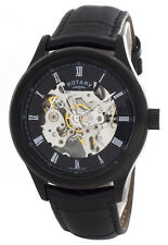 Rotary Mens Black & Skeleton Dial Black Leather Strap Skeleton Watch GS00159/10