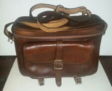 VINTAGE 1950'S JAPANESE BROWN LEATHER GADGET CAMERA STRAP BAG WITH LOCK KEY
