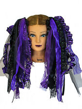 Dreadful Falls Purple & Black Ribbon Gothic Fairy Hair Falls Belly Dancing