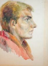 Vintage wc painting male portrait