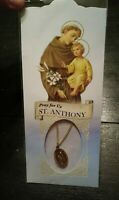 Vintage Oval Gold Like Alloy St. Anthony Pendant Necklace New NIP Mint Blue Pkg