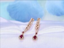 1.5 Ct Pear Garnet & Sim Diamond Women's Cute Drop Earrings 14k Rose Gold Finish