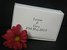 100 White Wedding Cake Boxes, with Personalised Printing (in silver or gold)