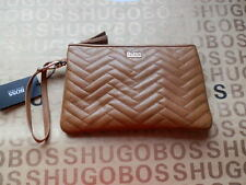 NEW HUGO BOSS WOMANS DESIGNER TAN LEATHER WALLET HAND CLUTCH PURSE BAG