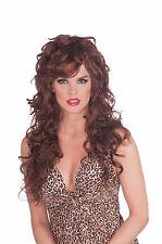Sexy Long Auburn Curly Seductress Temptress Costume Wig