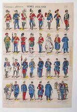 Gravure sur bois - Imagerie Populaire - Costumes Militaires Armée Anglaise