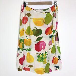 Jams World Tie Wrap Fruit Print Skirt Size Medium White Green Pink Yellow Apple