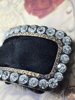 Small Antique Georgian Old Cut Diamond Paste Silver & 9ct Gold Shoe Buckle