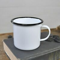 Small White Enamelware Cup with Black Trim