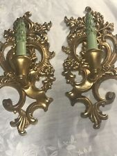 Set of 2 Vintage Wood Floral Wall Sconce  With Wood Candles Mid Century