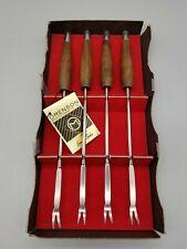 Mid Century Wood Modern Set of 4 Fondue Forks Ernest Sohn Design Vintage