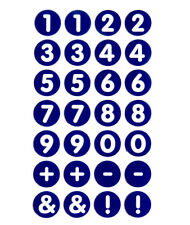 """13mm 0.5"""" Round Circular White on Blue Numbering Labels Number Stickers RCN7968"""