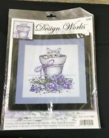 "Design Works Stamped Embroidery Kit FLOWERPOT KITTY 15/"" x 15/"""