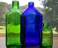 Lot of three Vintage colored Squibb Medicine bottles Cobalt Green