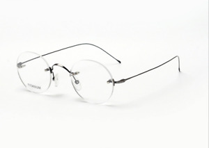 Titanium Rimless eyeglasses Steve Jobs Men's Round eyewear RX optical glasses