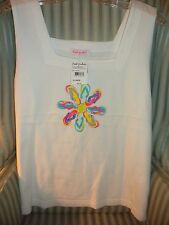 NWT!  PRODUCE 100%  COTTON FLOWER FLOP V-NECK  TANK...VIBRANT COLORS... (XL)