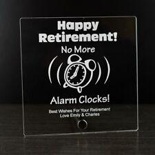 Retirement Gift Idea - No More Alarm Clocks Personalised Acrylic Sign Plaque