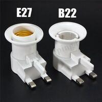 NEW UK AC Plug To E27/B22 LED Light Lamp Bulb Adapter Converter w/ ON/OFF Switch