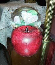 Collectible Decorative Paint Real Sized Red Apple Turned Wood Material Xx