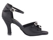 Women's 1620 Black Satin Ballroom Salsa Mambo Latin Dance Shoes heel 3 Size 6