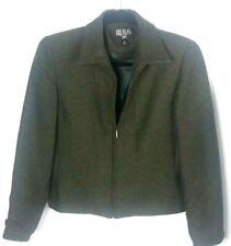 Bill Blass Womens Jacket Blazer Size 6P Green Speckled Wool Blend Zip Up B252