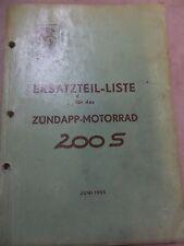 ZUNDAPP PARTS MANUAL LIST 200S 200-S OEM GERMAN VINTAGE 1955 AHRMA
