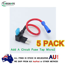 5 x Add A Circuit Fuse Tap Micro2 Blade Fuse Holder ATM APM 12v (5 x Free Fuse)
