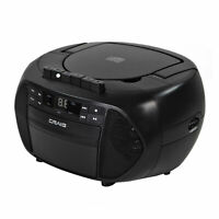 Craig CD6951 CD Boombox with AM/FM Radio and Cassette Player/Recorder in Black