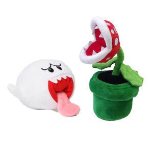 2pcs Super Mario Bros Boo Ghost + Piranha Plant Plush Doll Stuffed Animal Toys