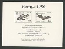 FRANCE EPREUVE DE LUXE 1986 EUROPA CEPT FLEDERMAUS BAT WILDKATZE WILD CAT (m1277