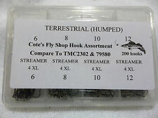 CFS fly hook assortment: terrestrial & 4X streamer (TMC2302 & 79580) 200 hooks