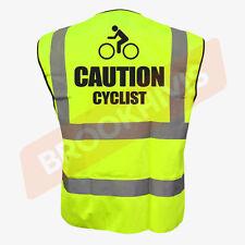 Cycling Hi Viz Vis Cycle Waistcoat Vest Tabard Road Safety Reflective Bike Rider L Caution Cyclist