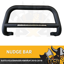 Nudge Bar For Volkswagen Amarok 2010-2018 Matte Black Steel Grille + Light Bar