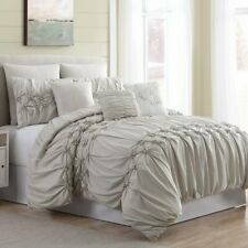 Queen King Bed Sand Beige Pintuck Ruched Pleat Elegant Rosette 8pc Comforter Set