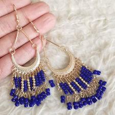 NEW Vintage Womens Bohemian Blue Beads Gold-Tone Beads Dangle Drop Hook Earrings