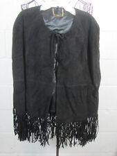 NWT Iman Platinum Collection Black Suede Leather Fringe Cape Poncho XL