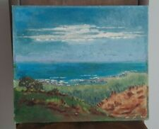 More details for original vintage coastal landscape oil painting sea 1940s