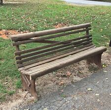 Antique Wood Church Pew, Country Store Wooden Bench, Slated Pine Porch Seat