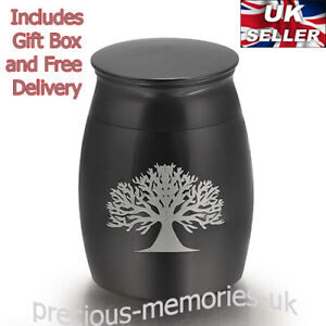 Black Tree Mini Cremation Ashes Urn - Funeral Memorial Keepsake - with Gift Box