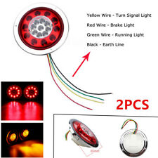 Pair 4.3'' Round 19LED Universal Truck Trailer Lorry Brake Stop Turn Tail Light