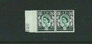 GB - SCOTLAND 1958 - Horizontal Margin Pair SG S5 - 1/3d Green - MNH