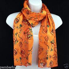 Happy Halloween Womens Scarf Pumpkin Candy Corn Gift Scarfs Orange Scarves New