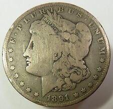 1891-P Bent Silver Morgan Dollar $1 US Coin Item #7467