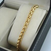"""18k Yellow Gold Filled Charms Bracelet 7.9""""Chain 6mm Dragon Rope Link GF Jewelry"""